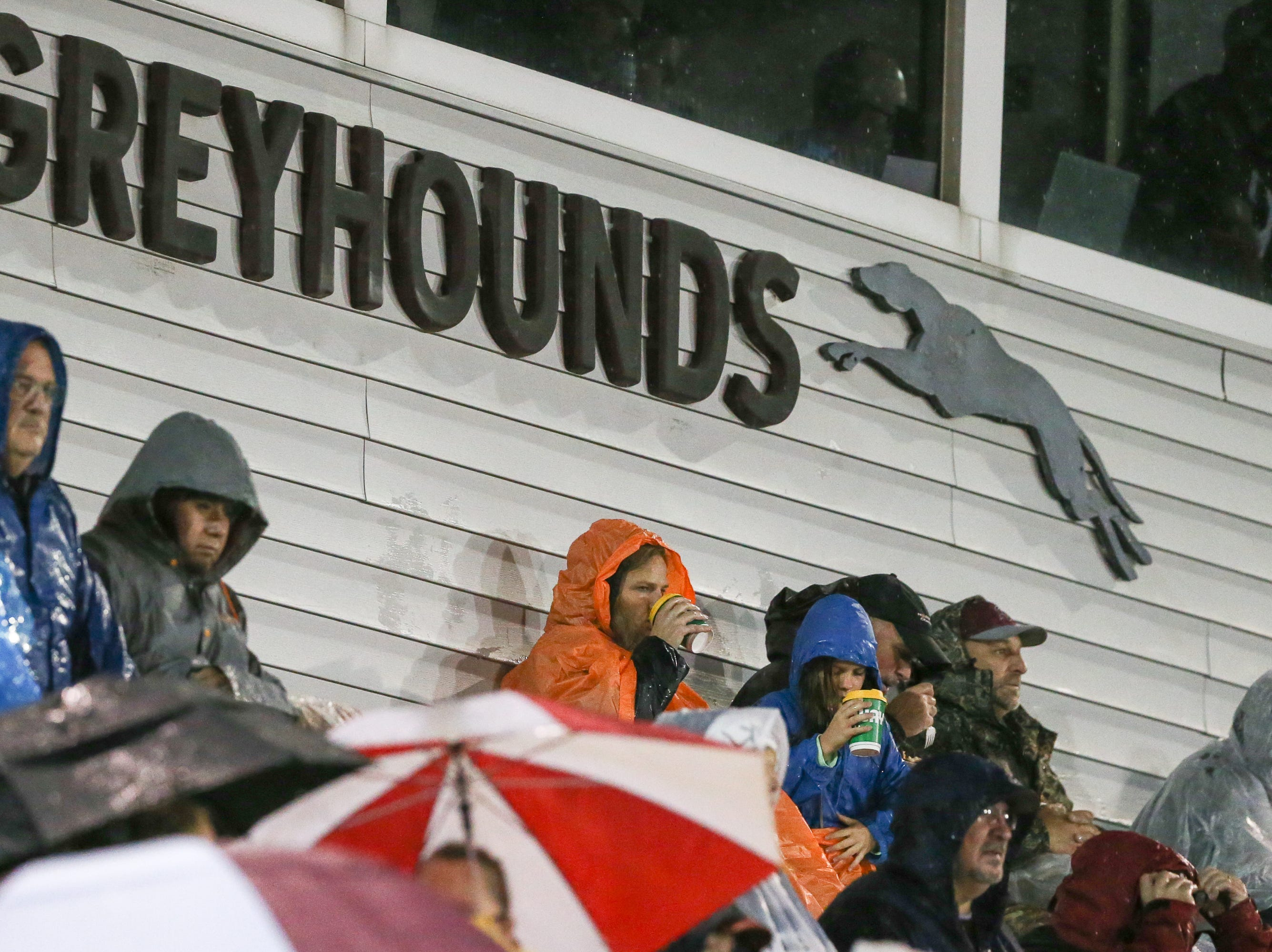 Dedicated fans brave the rain. The Shippensburg Greyhounds beat Northeastern 6-0 in a playoff game on Friday, Nov. 2, 2018.