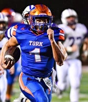 York High's Dayjure Stewart runs the ball for a touchdown during District 3, Class 5-A first-round football playoff action against Northern York at Smalls Athletic Field in York City, Friday, Nov. 2, 2018. York High would win the game 42-7. Dawn J. Sagert photo