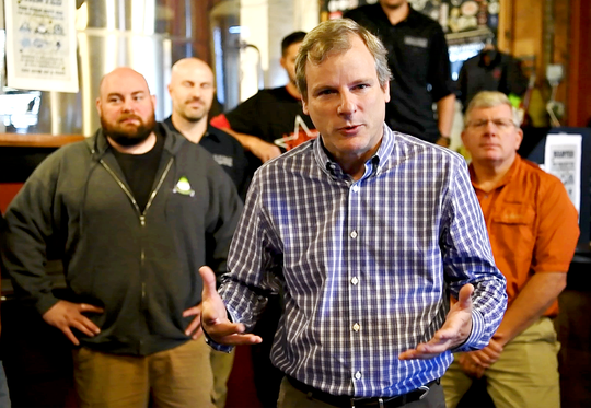 York City Mayor Michael Helfrich introduces the debut of The York City Six, which includes: Mudhook Brewing Company, Liquid Hero Brewery, Crystal Ball Brewing Company, Collusion Tapworks, Gift Horse Brewing Company and Old Forge Brewing Company as the breweries combine their efforts to craft a pilsner at Liquid Hero Brewery in York City, Saturday, Nov. 3, 2018. The brew is expected to be matured by the end of the year and will be available at each of the six breweries where one dollar for each glass sold will be donated to the York City Police Department. Dawn J. Sagert photo