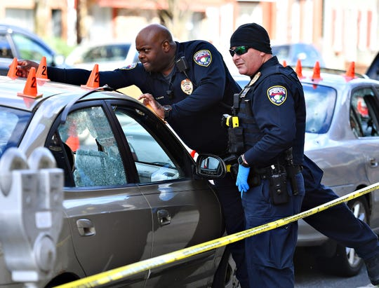 York City Police investigate the scene of a shooting in the 500 block of West Market Street in York City, Saturday, Nov. 3, 2018. Police say that the targeted shooting victim Yahke Kirene Jones, 19, was transported by ambulance to the hospital. Dawn J. Sagert photo