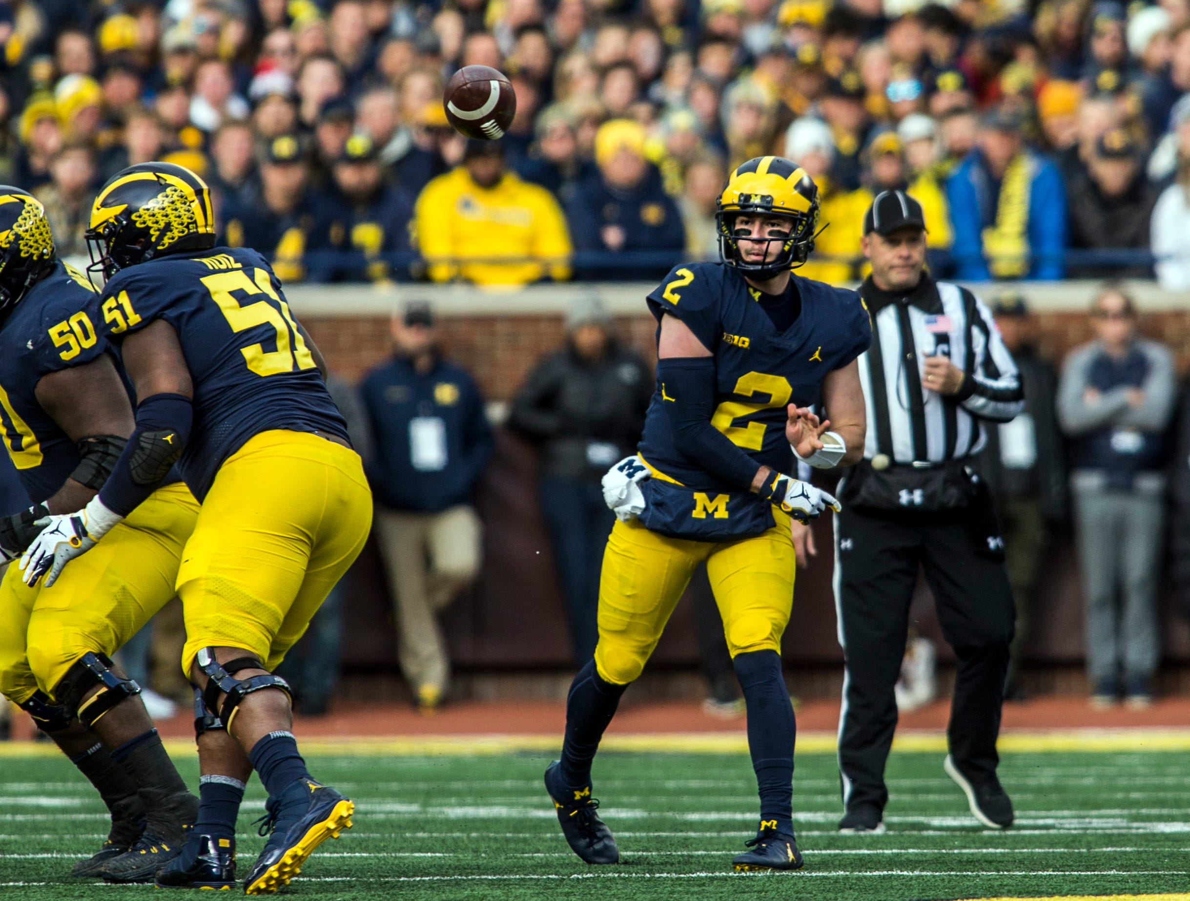 Michigan quarterback Shea Patterson (2) throws a pass in the first quarter of an NCAA college football game against Penn State in Ann Arbor, Mich., Saturday, Nov. 3, 2018. (AP Photo/Tony Ding)