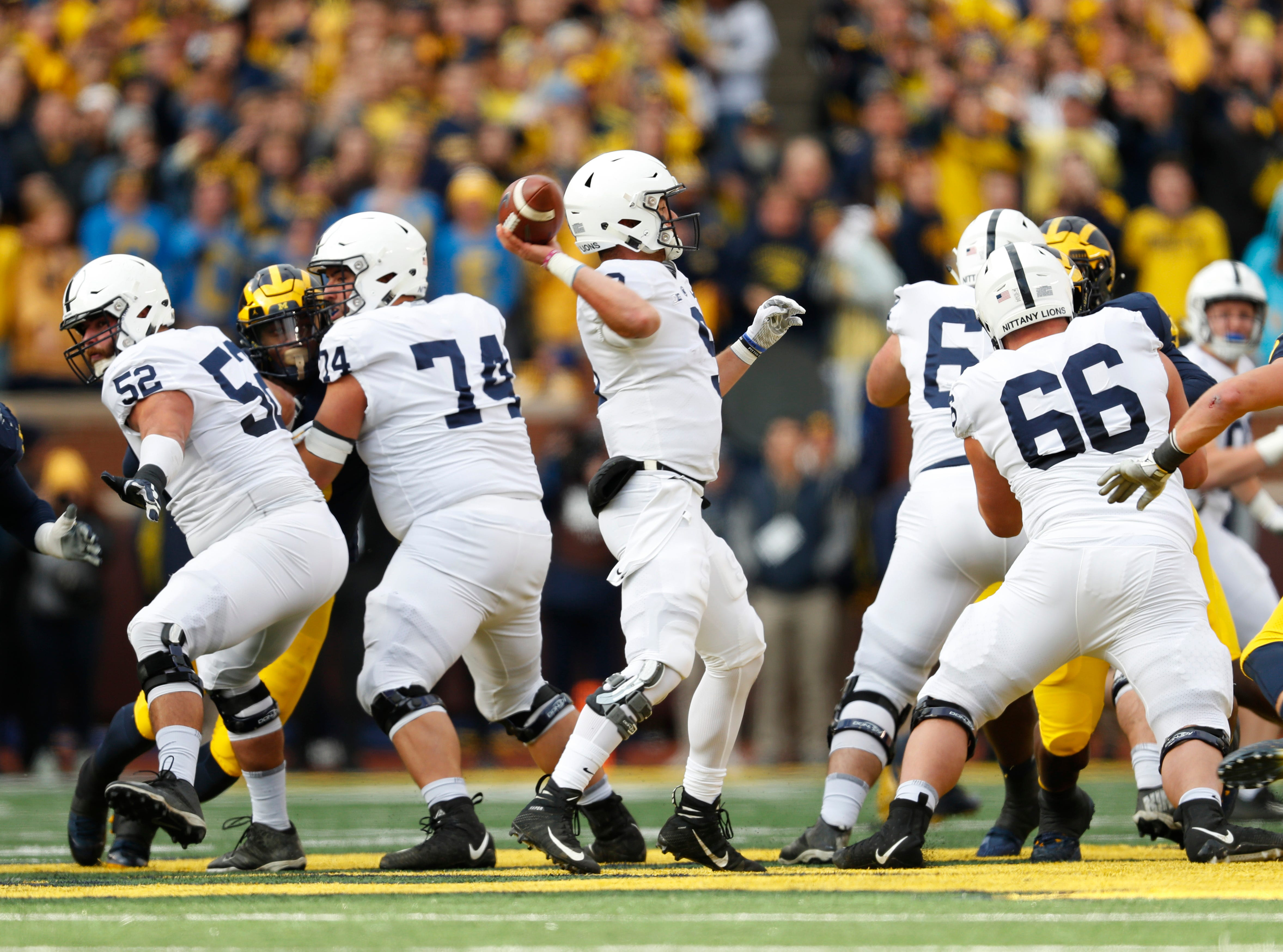 Penn State quarterback Trace McSorley (9) throws against Michigan in the first half of an NCAA college football game in Ann Arbor, Mich., Saturday, Nov. 3, 2018. (AP Photo/Paul Sancya)