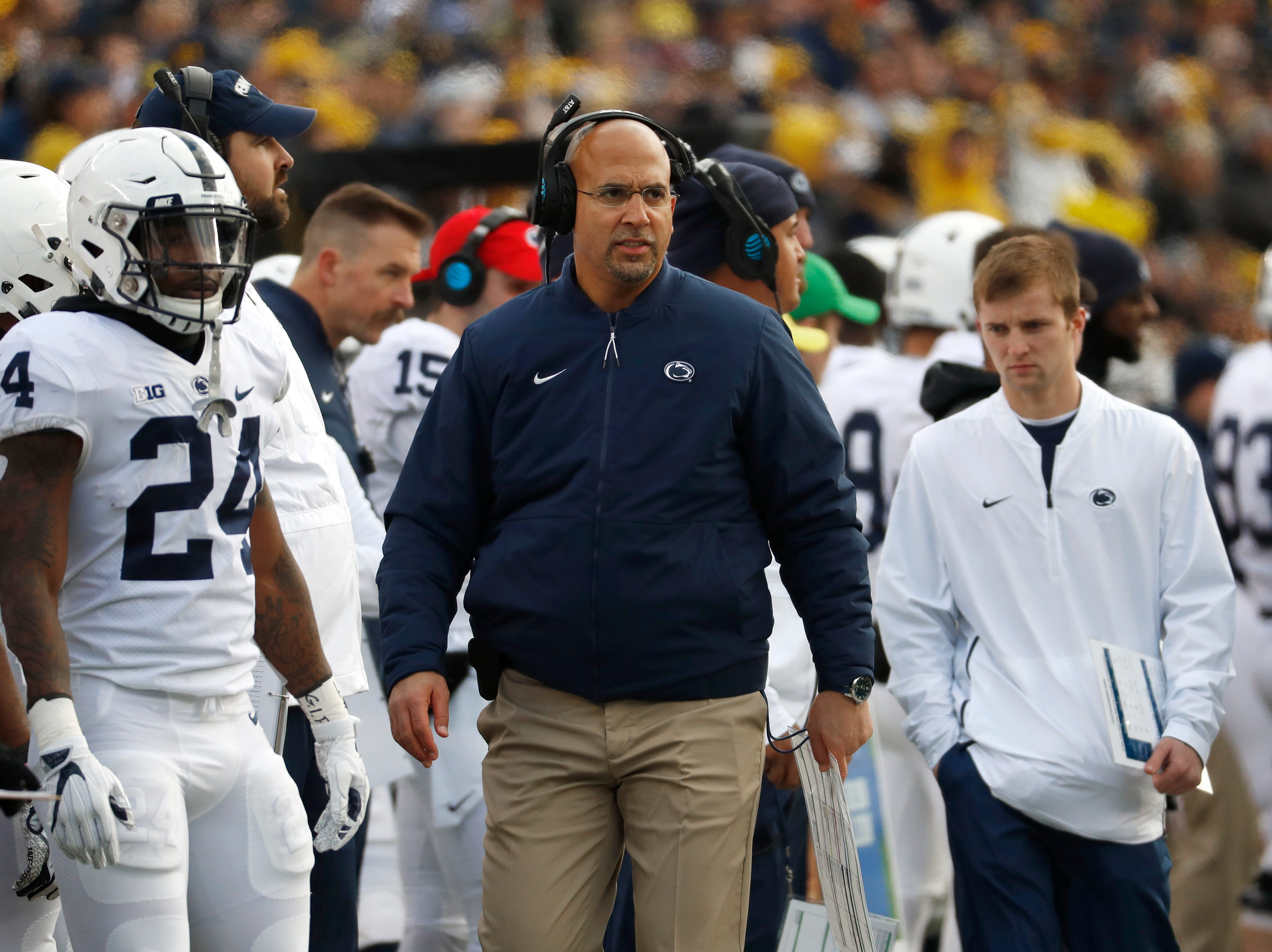 Penn State head coach James Franklin watches in the first half of an NCAA college football game against Michigan in Ann Arbor, Mich., Saturday, Nov. 3, 2018. (AP Photo/Paul Sancya)