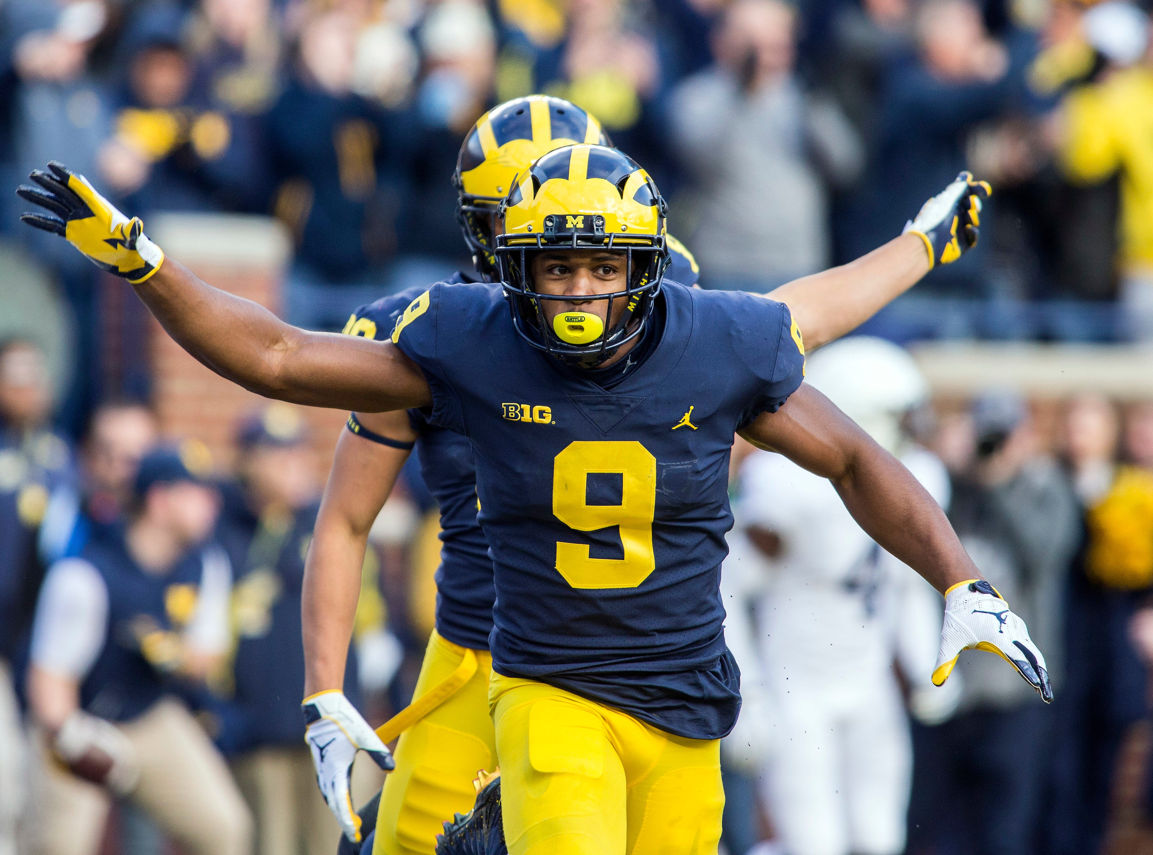 Michigan wide receiver Donovan Peoples-Jones (9) celebrates his touchdown in the second quarter of an NCAA college football game against Penn State in Ann Arbor, Mich., Saturday, Nov. 3, 2018. (AP Photo/Tony Ding)