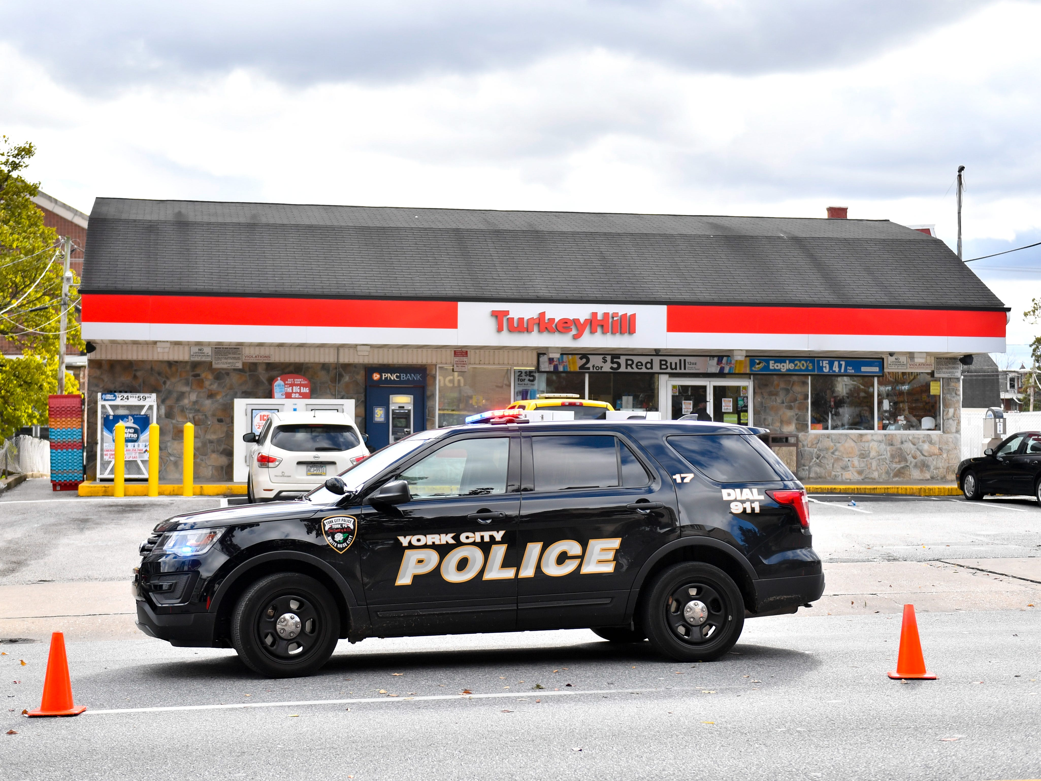 Turkey Hill is closed while police investigate the shooting on West Market Street, November 3, 2018.