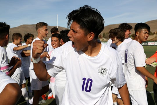Spanish Springs celebrates their victory over Galena to win their regional final soccer game at Damonte Ranch in Reno on Nov. 3, 2018.