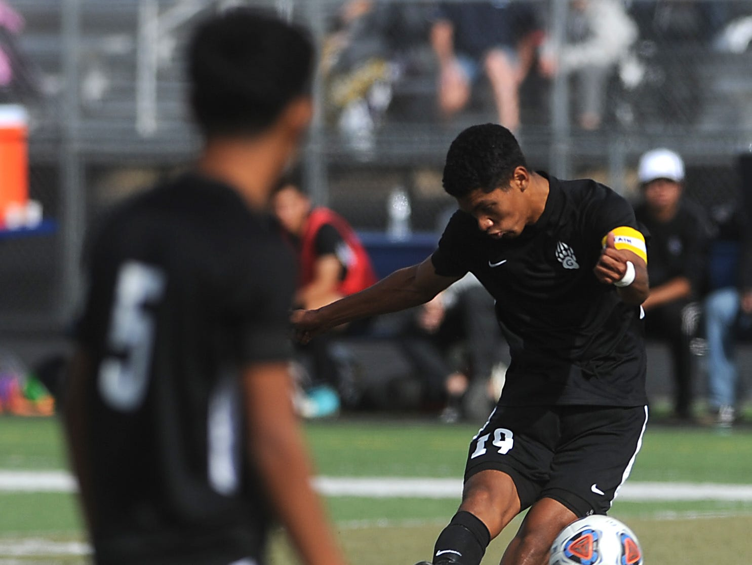Galena's Jesus Medina Alvarez scores on a free kick against Spanish Springs during their regional final soccer game at Damonte Ranch in Reno on Nov. 3, 2018.
