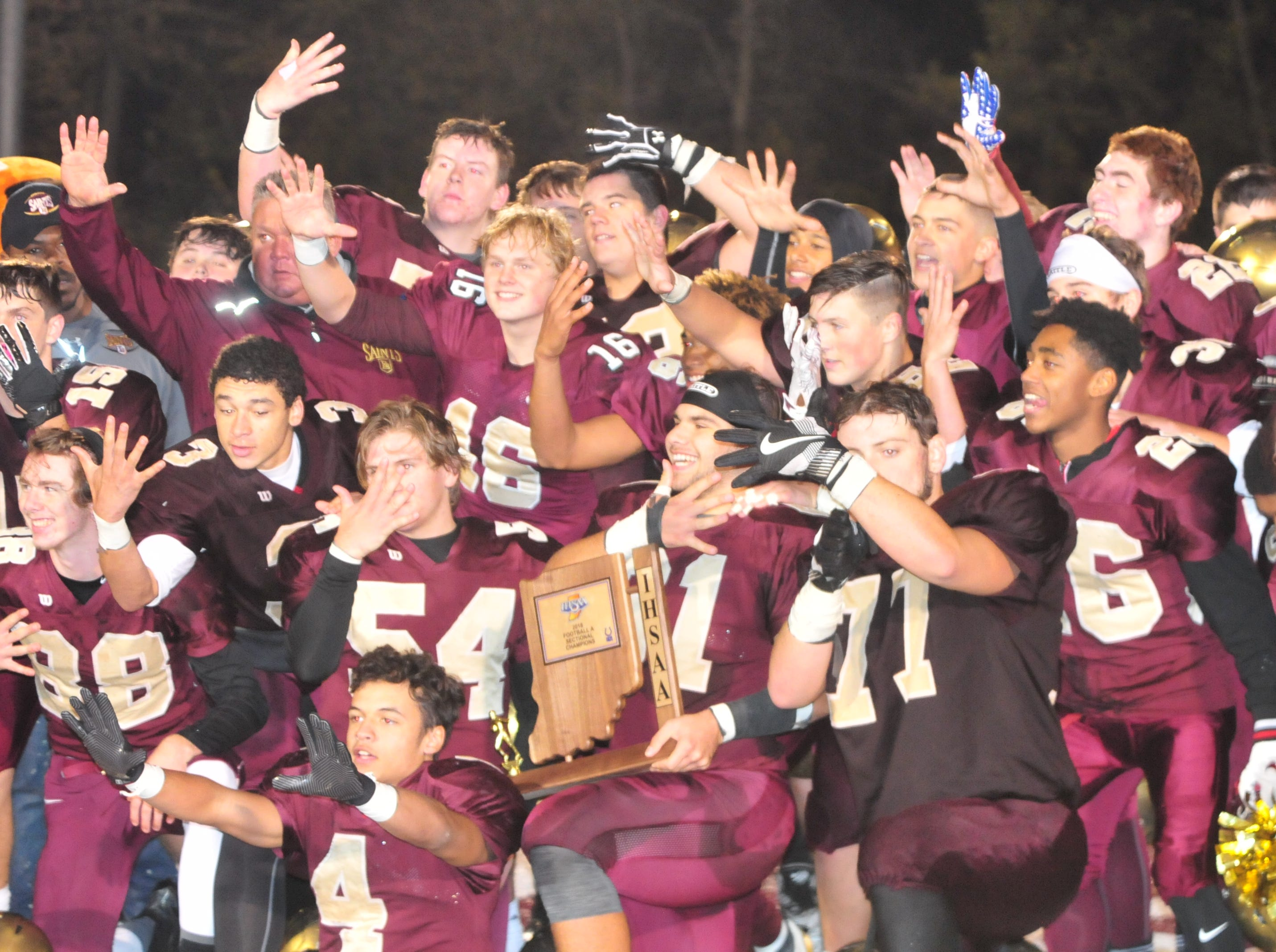 The Indianapolis Lutheran football team defeated Hagerstown 32-13 to win a fifth consecutive sectional championship Friday, Nov. 2, 2018.