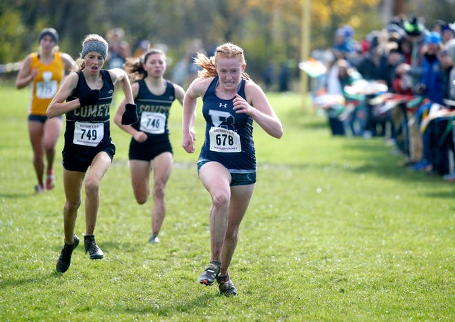 Girls Class A: Brighton's Delia McDade Clay finished third with a time of 19:59.7 during the Section V Cross Country meet at Midlakes High School.