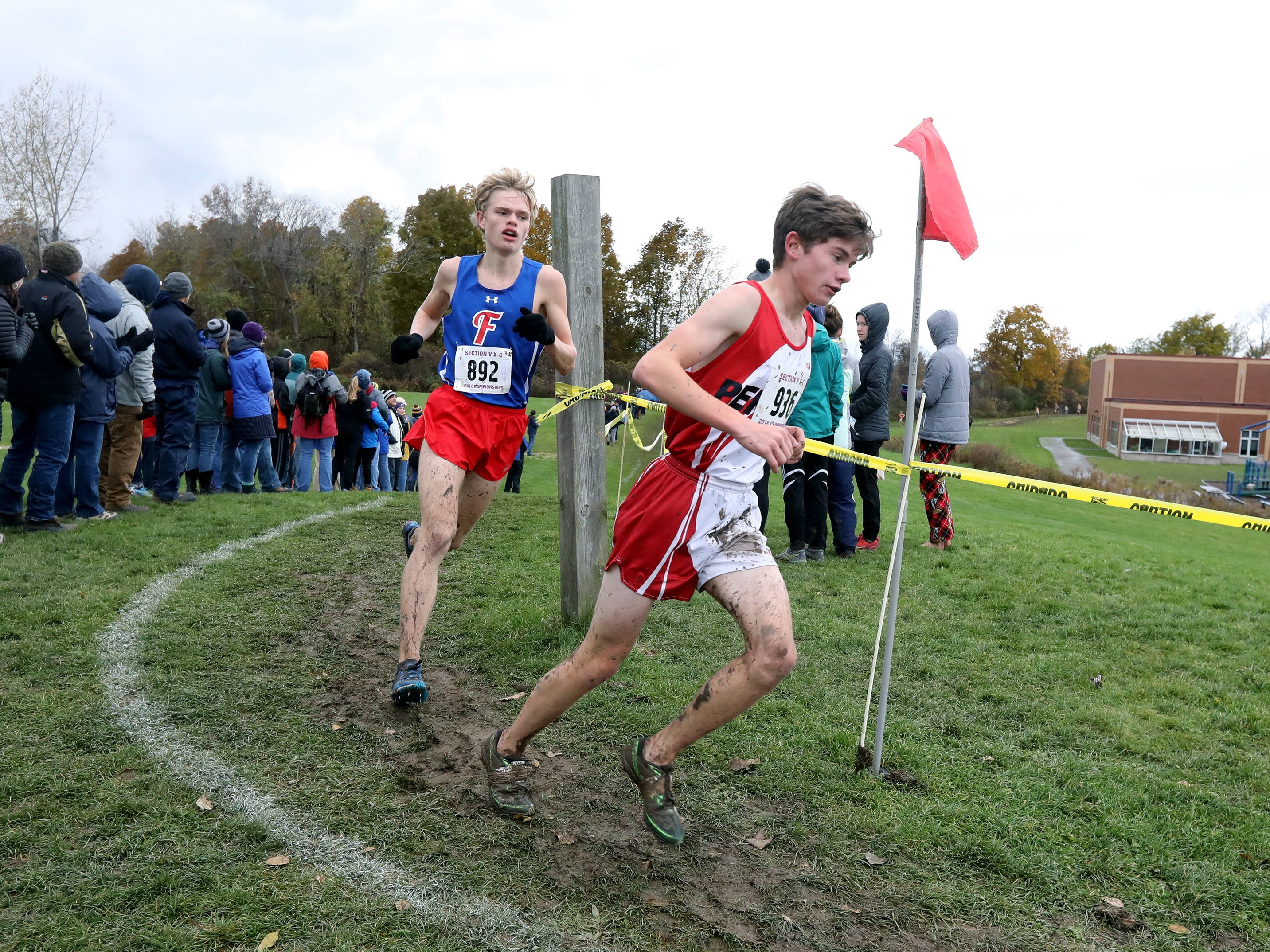 Boys Class A: Penfield's Zachary Gauronski finished sixth with a time of 16:50.7 and is followed by Fairport's Matt Abell, who was ninth with a time of 17:13.8 during the Section V Cross Country meet at Midlakes High School.