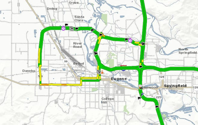 To avoid traffic on I-105, those who plan to take the Valley River shuttle to Saturday's Ducks game should consider takingOR-569 Beltline to Delta Highway