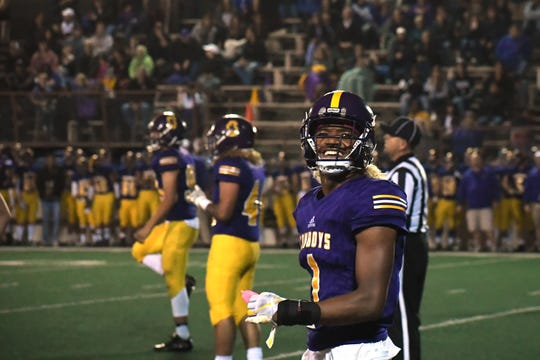 Salinas senior Poe Gaskins Jr. (1) had plenty of reasons to smile last week (202 yards, three touchdown, game-sealing interception). His speed and agility in the open field could spell trouble again for the Haybalers' defense.