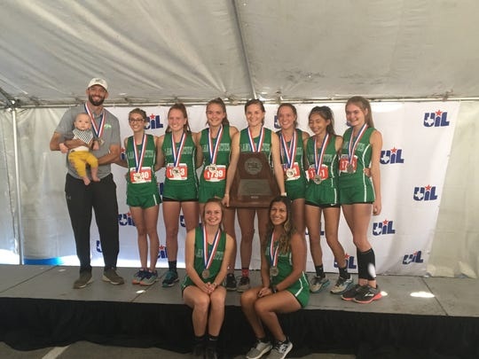 The Wall girls were second at the 2018 Class 3A UIL State Cross Country Championships Saturday, Nov. 3, 2018, in Round Rock. From left to right, head coach Tate Lombard, Elise Countess, Emily Shiller, Reagan Beeles, Bethany Pugh, Shaylee Shiller, Cyleste Mirelez and Maci Beeles.