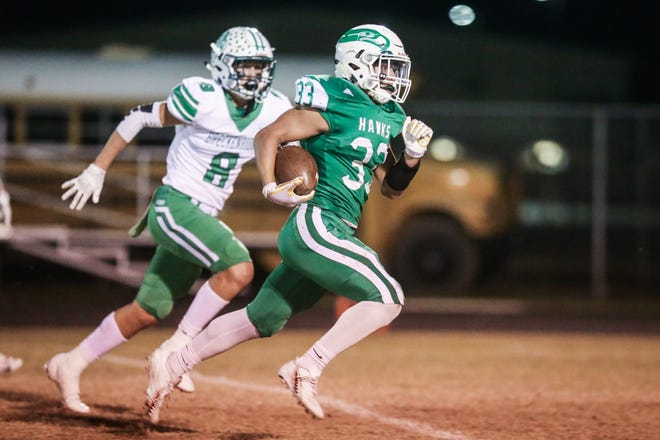 Wall's Chase Rios runs the ball against Breckenridge on Friday, Nov. 2, 2018, at Wall.