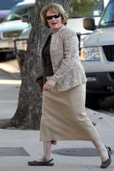 Judge Barbara Walther arrives at the Tom Green County Courthouse on Aug. 9, 2011, to preside over the sexual assault trial of Warren Jeffs, leader of the Fundamentalist Church of Jesus Christ of Latter-day Saints.
