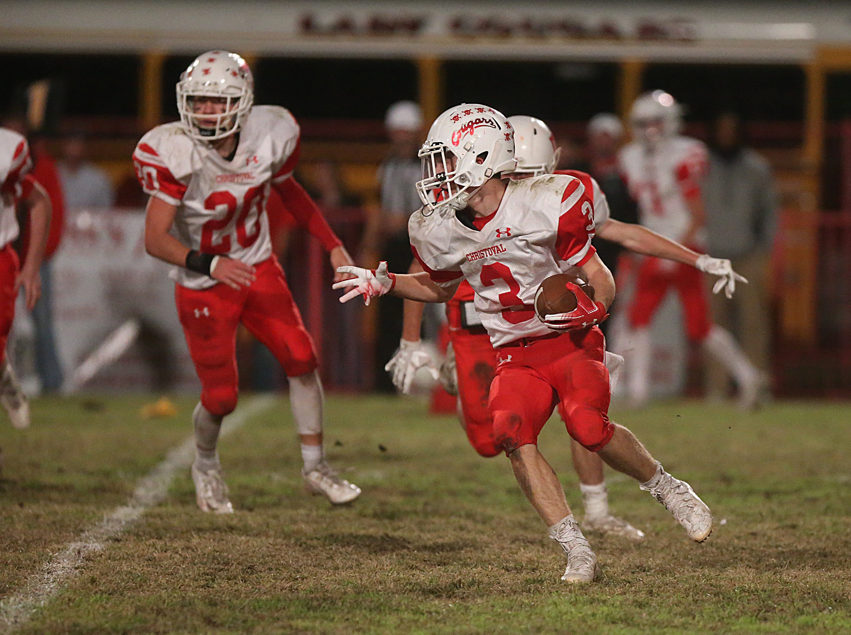 Christoval's Beau Jolly (#2) tries to outrun Miles' defense Friday, Nov. 2, 2018 during their game in Miles.
