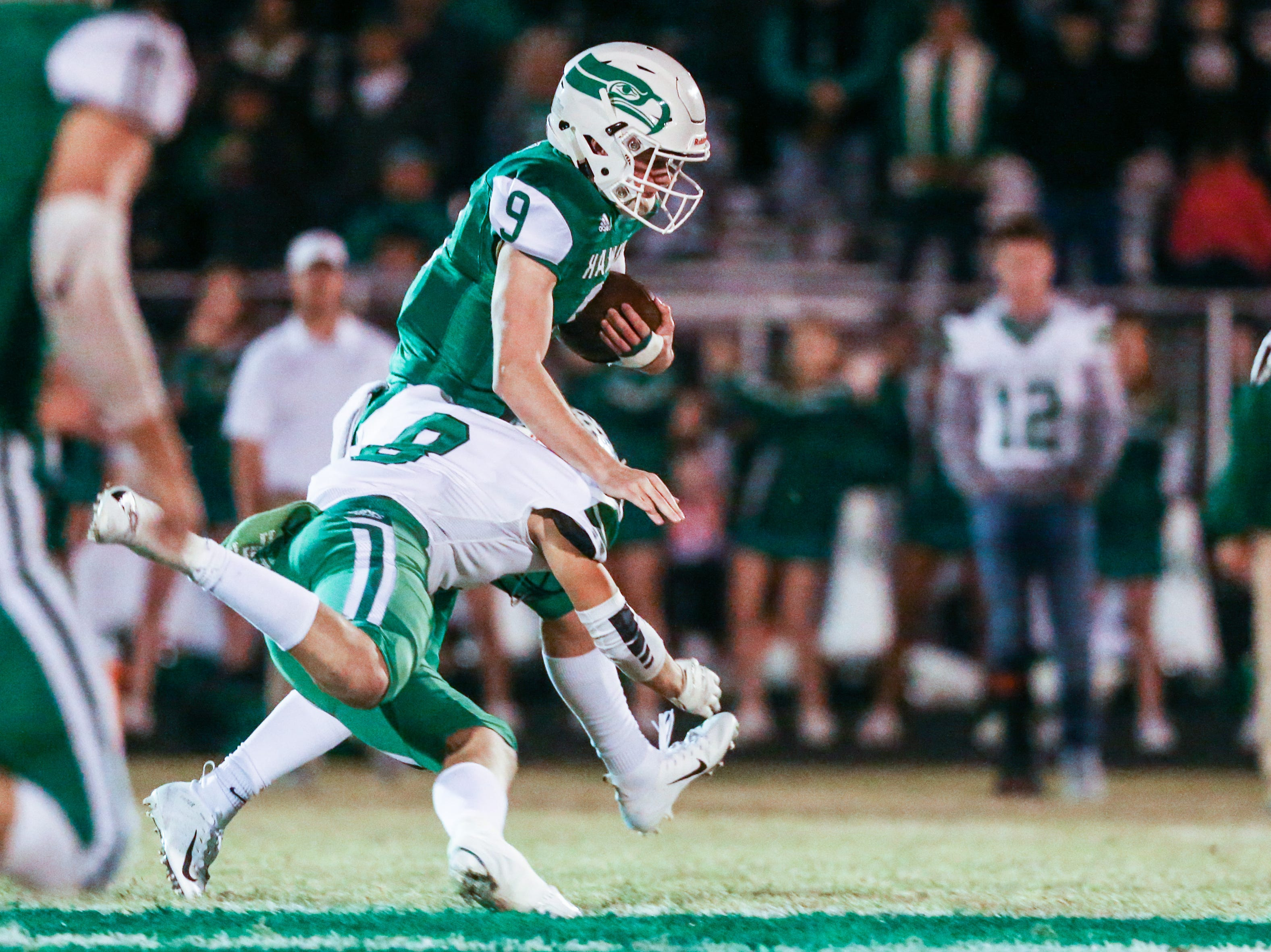 Wall's Mason Fuchs is tackled by Breckenridge defense Friday, Nov. 2, 2018, at Wall.