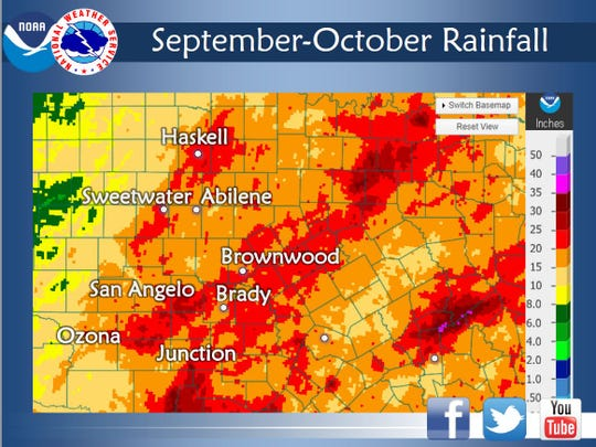 This map shows combined rainfall in for September and October 2018.