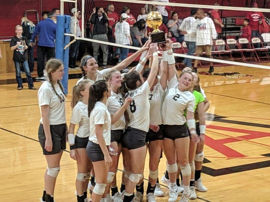 The Water Valley volleyball team won its first playoff game of 2018, beating Chillicothe in four sets Saturday, Nov. 3, 2018, in Aspermont. Water Valley had a bye in the first round.