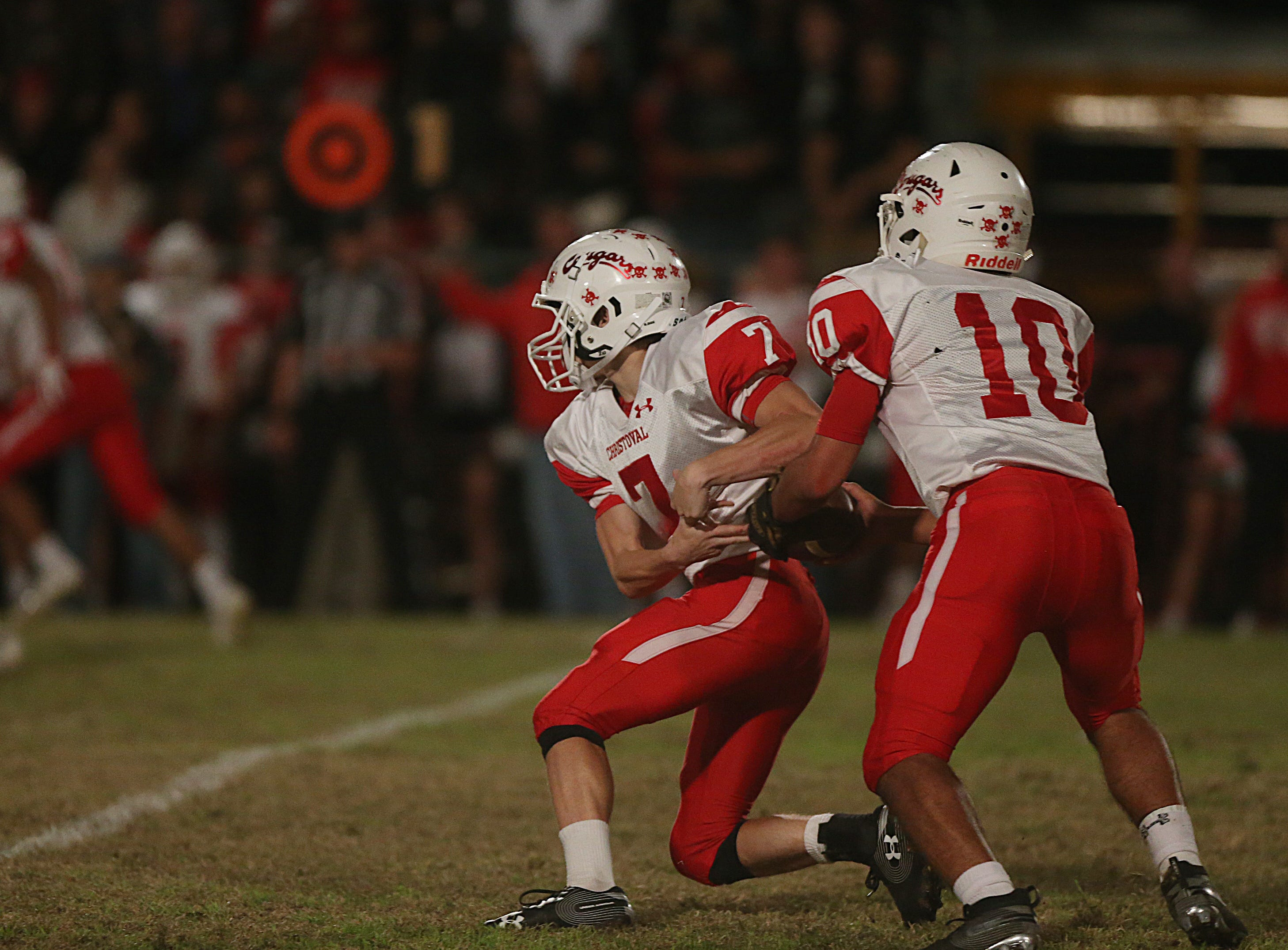 Christoval's Brayden Wilcox (#10) passes the ball to teammate David Fava Friday, Nov. 2, 2018 during their game against Miles.