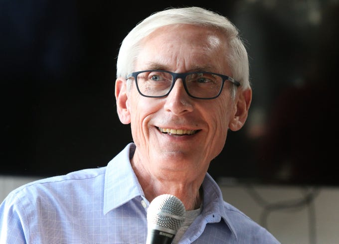 Wisconsin gubernatorial candidate and Plymouth, Wis. native Tony Evers smiles at the crowd at The Hub coffee shop, Saturday, November 3, 2018, in Plymouth, Wis. Evers is hoping to unseat Gov. Scott Walker.