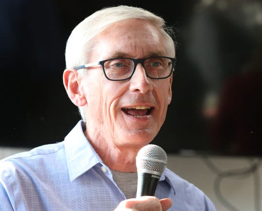 Wisconsin gubernatorial candidate Tony Evers and Plymouth, Wis. native speaks to the crowd at The Hub coffee shop, Saturday, November 3, 2018, in Plymouth, Wis. Evers is hoping to unseat Gov. Scott Walker.