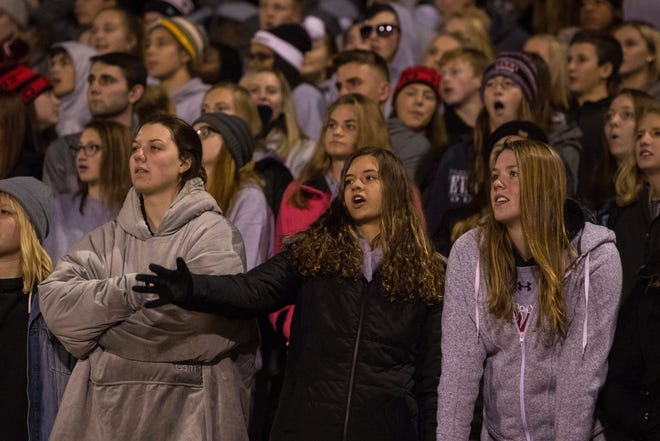 Brandon Valley fans react during the game against O'Gorman on Friday in Sioux Falls.