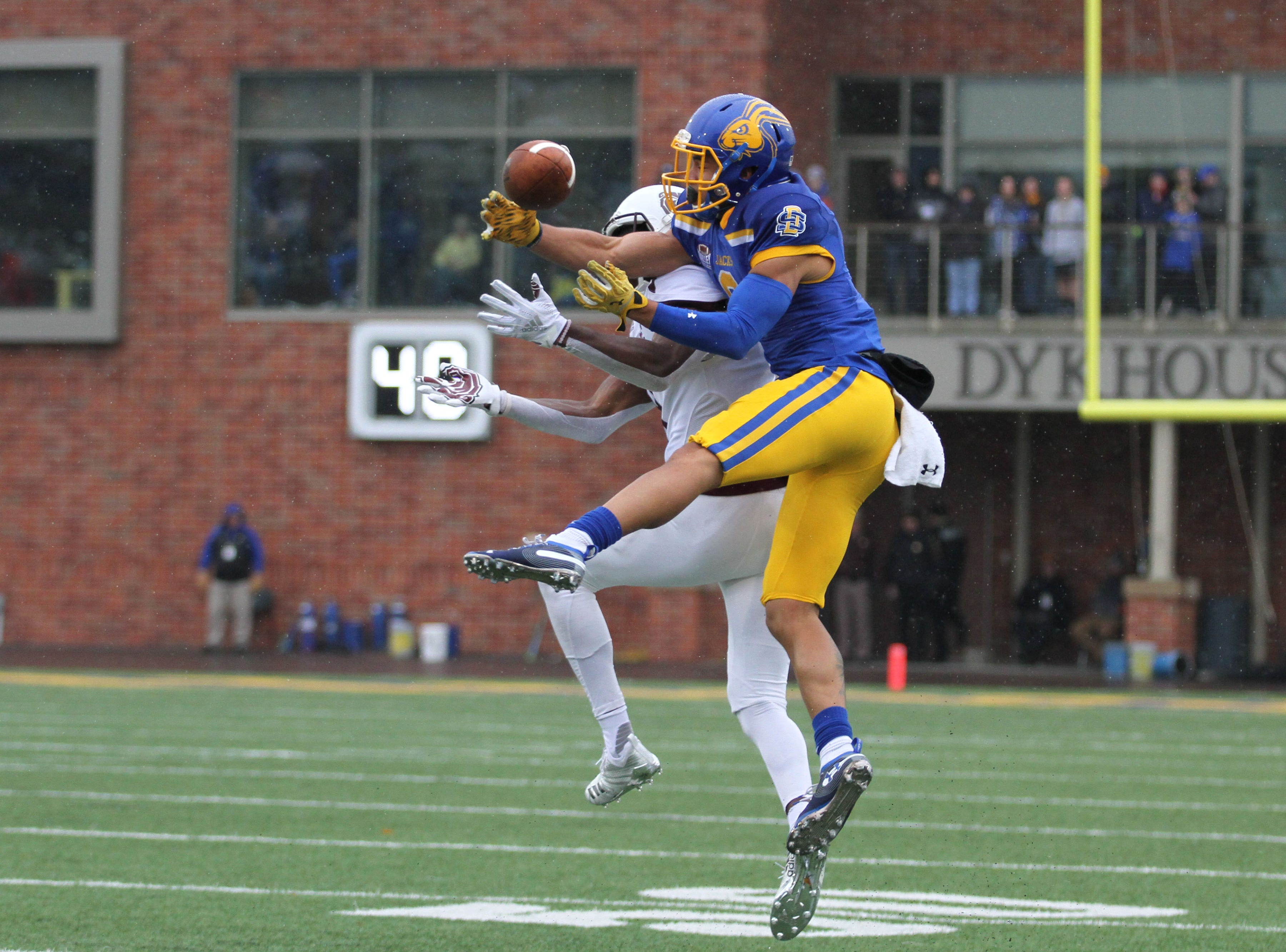 South Dakota State's Jordan Brown (9) knocks a pass away during the second quarter of the match up with Missouri State for Military Appreciatin Day Saturday afternoon at Dana J. Dykhouse Stadium in Brookings.