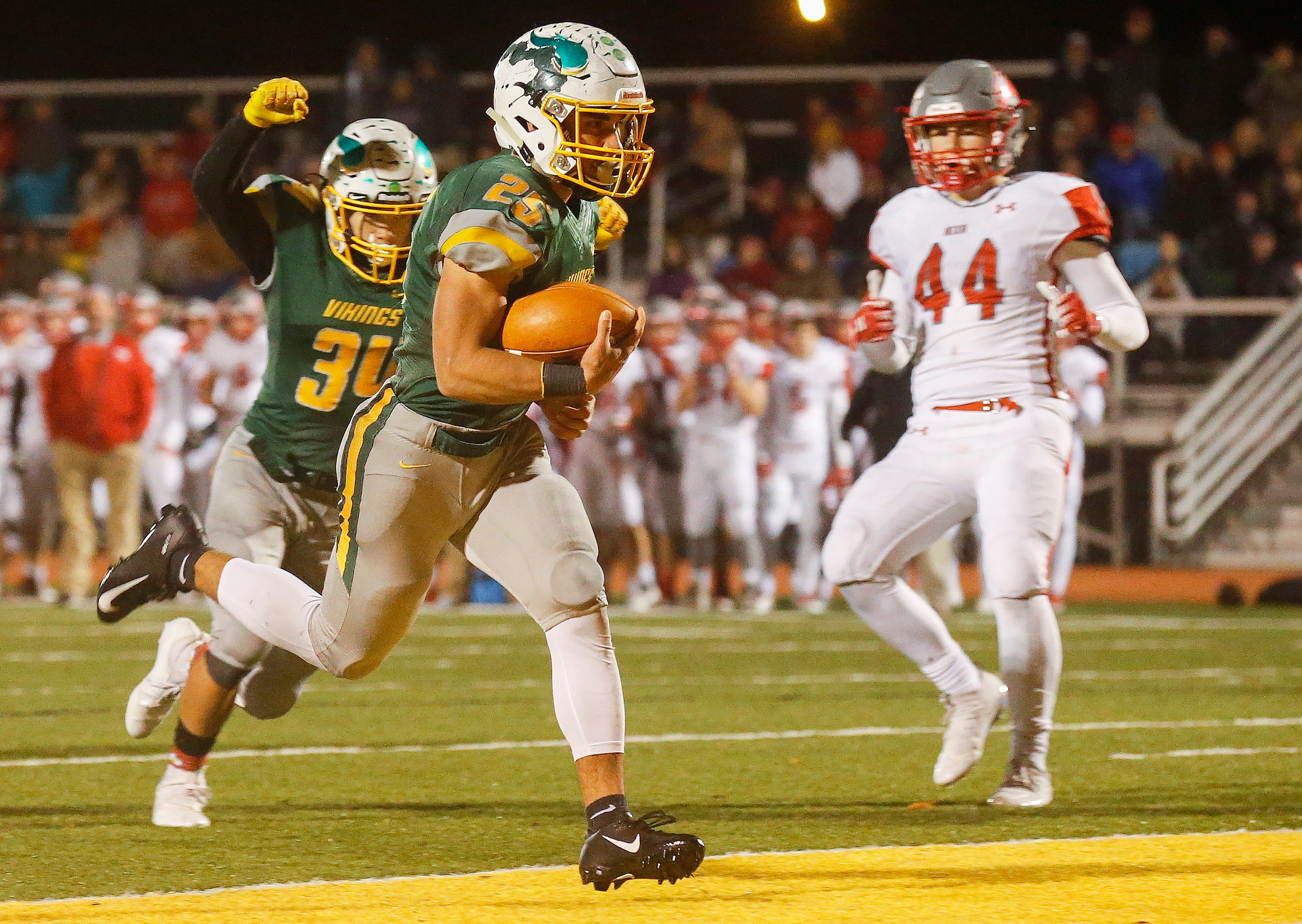 Blake Delacruz runs the ball in for a touchdown in overtime as the Parkview Vikings defeated the Nixa Eagles 42-41 at JFK Stadium on Friday, Nov. 2, 2018.