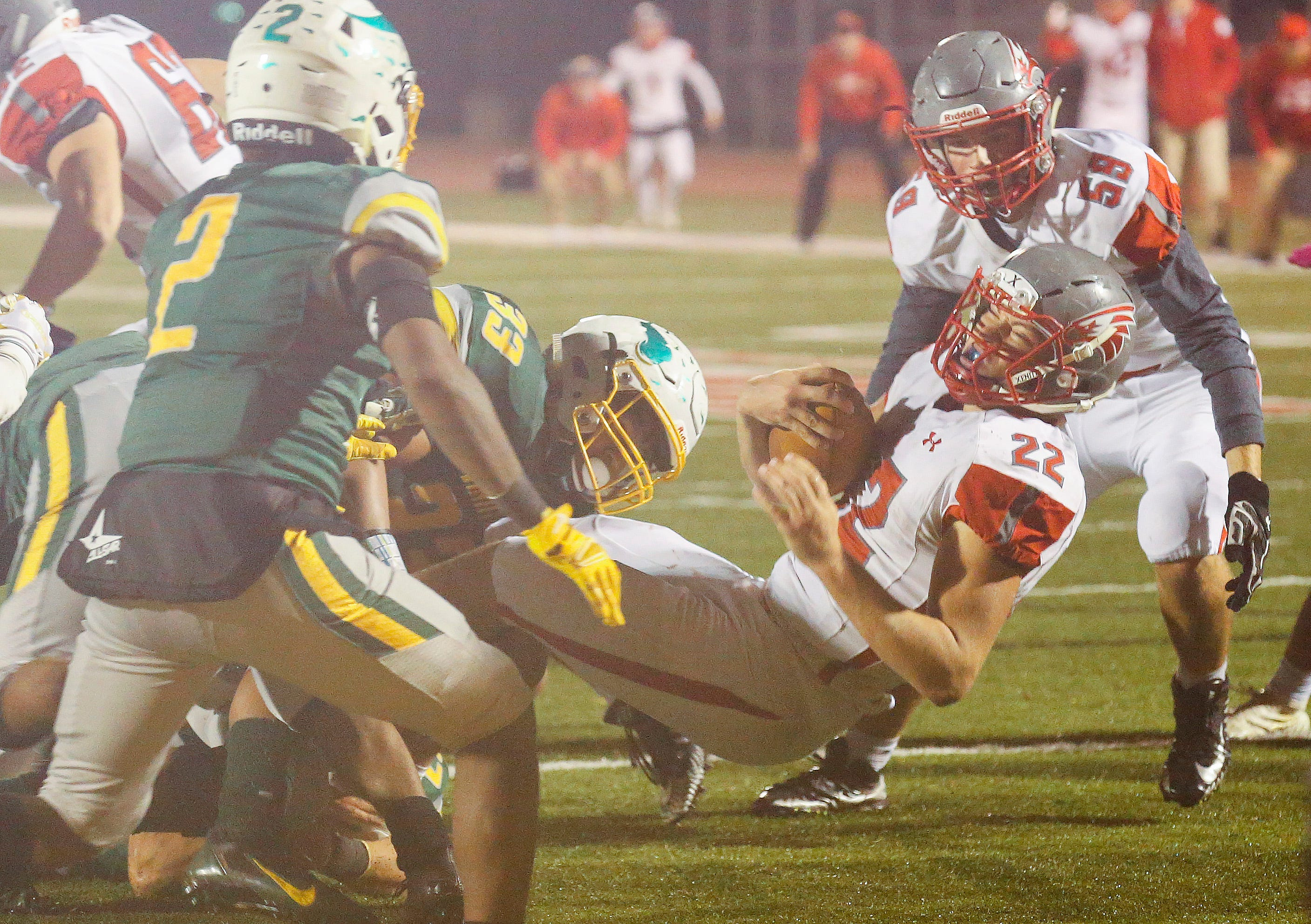 Sean Sample, of Nixa, is stopped during a two-point conversion attempt as the Parkview Vikings defeated the Nixa Eagles 42-41 in overtime at JFK Stadium on Friday, Nov. 2, 2018.