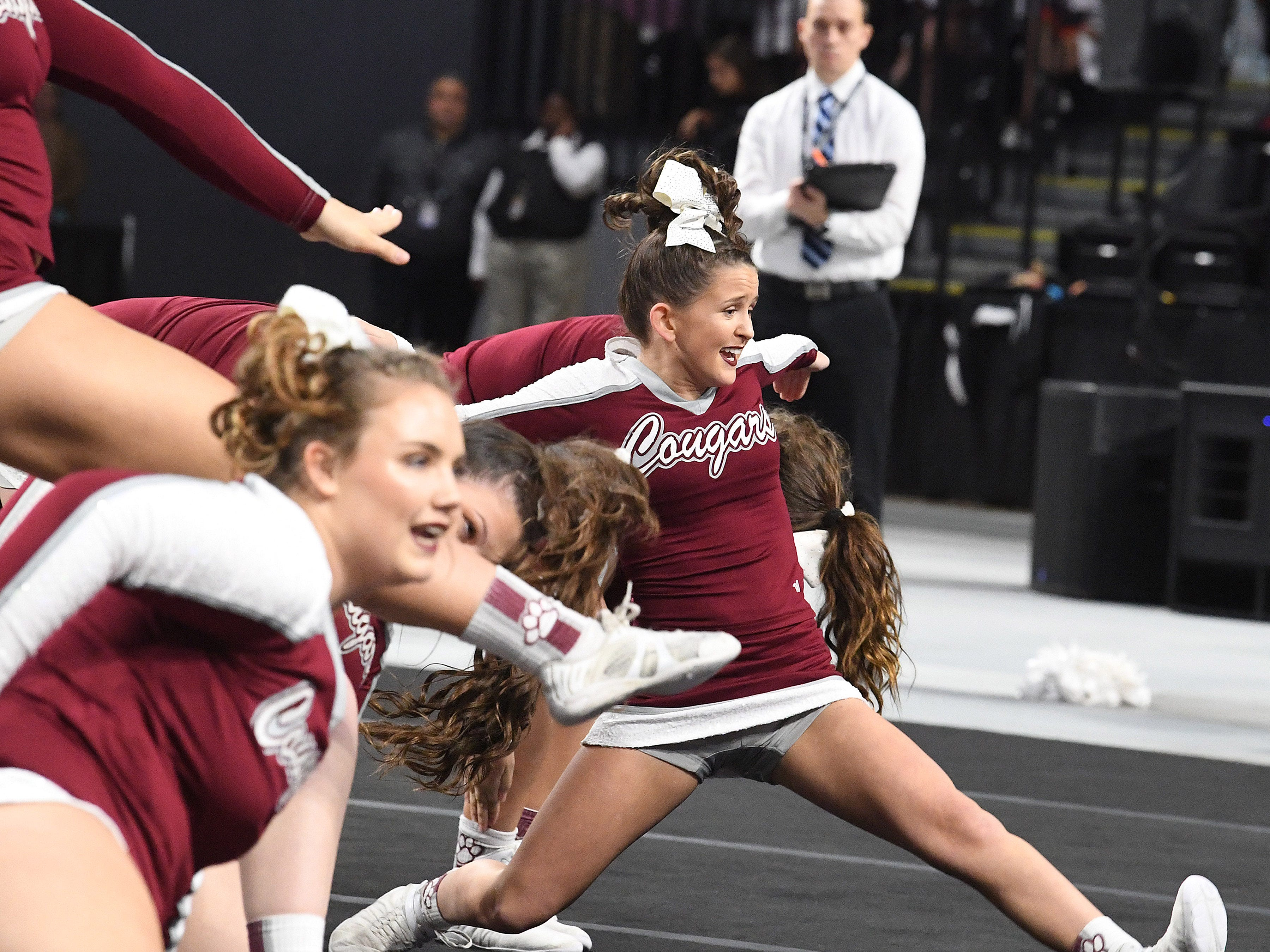 Stuarts Draft's competition cheer team competes during the VHSL Competition Cheer Championships in Richmond on Saturday, Nov. 3, 2018.