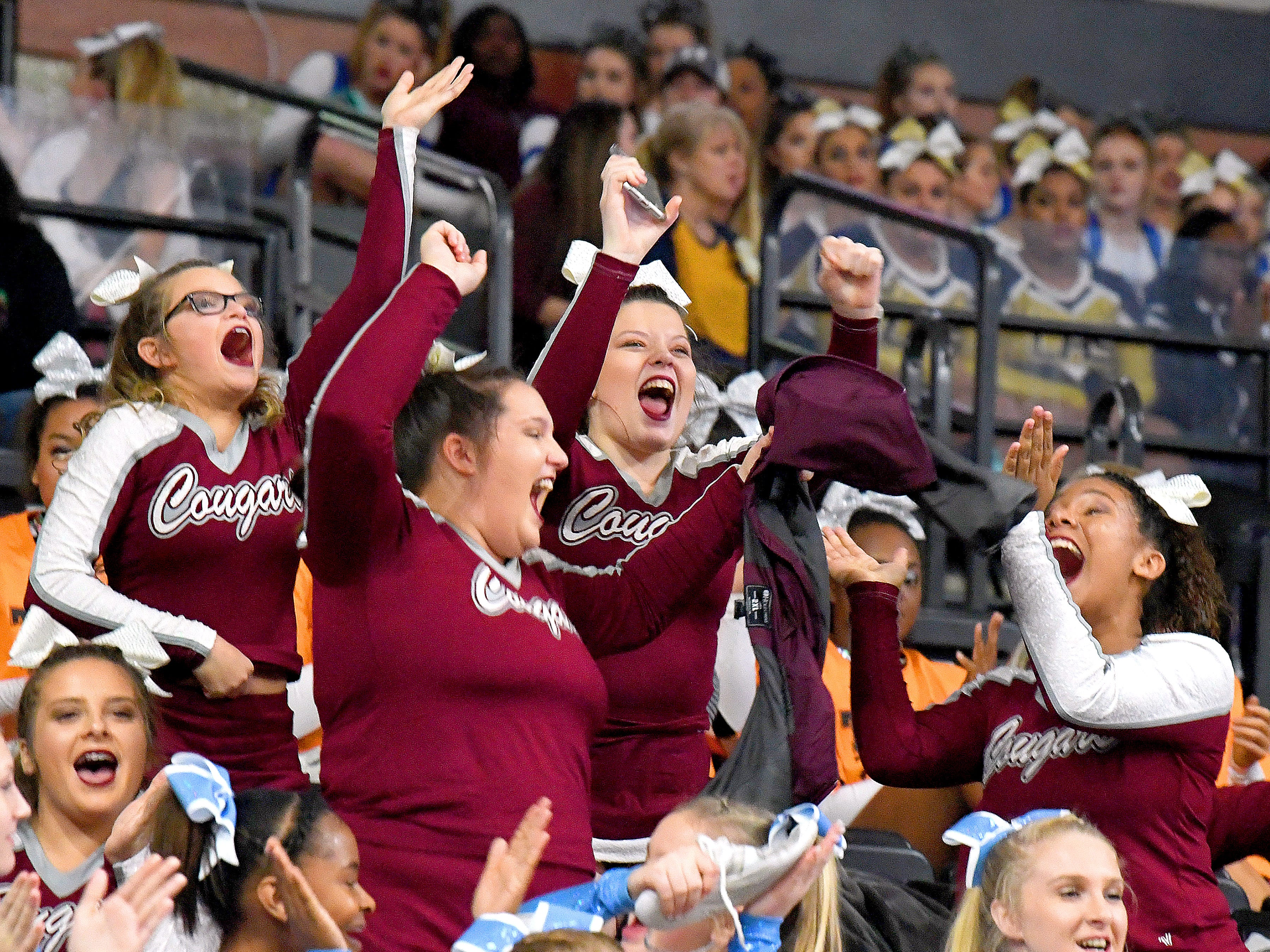 Members of the Stuarts Draft's competition cheer team celebrate on hearing the have made it into the final round during the VHSL Competition Cheer Championships in Richmond on Saturday, Nov. 3, 2018.