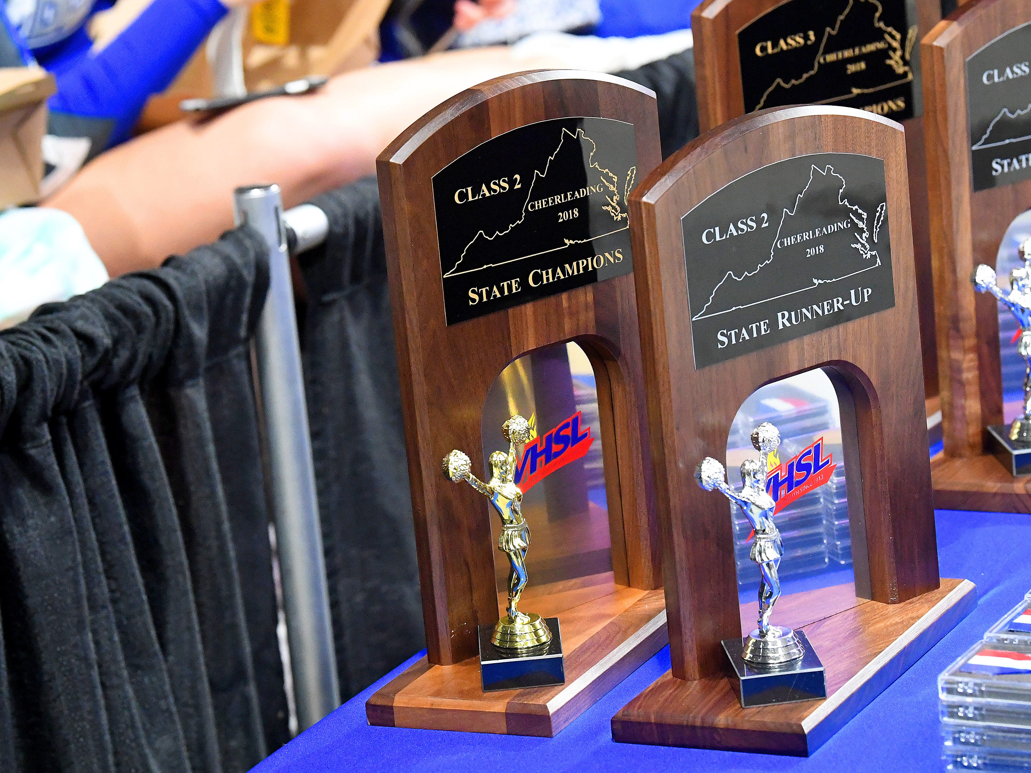 Trophies for the Class 2 state championships and runner-up at the VHSL Competition Cheer Championships in Richmond on Saturday, Nov. 3, 2018.
