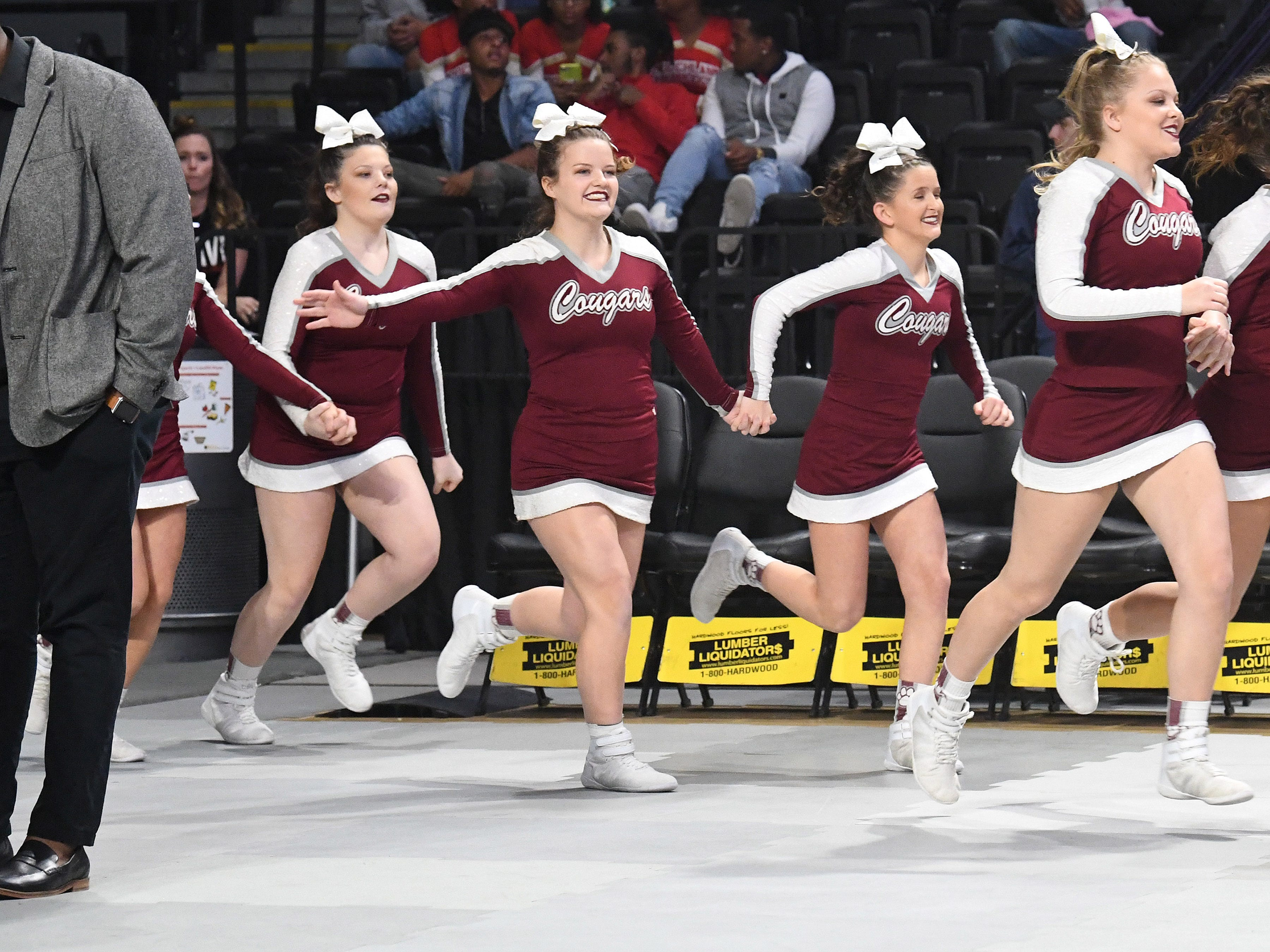 Stuarts Draft's competition cheer team takes the mat to compete during the VHSL Competition Cheer Championships in Richmond on Saturday, Nov. 3, 2018.