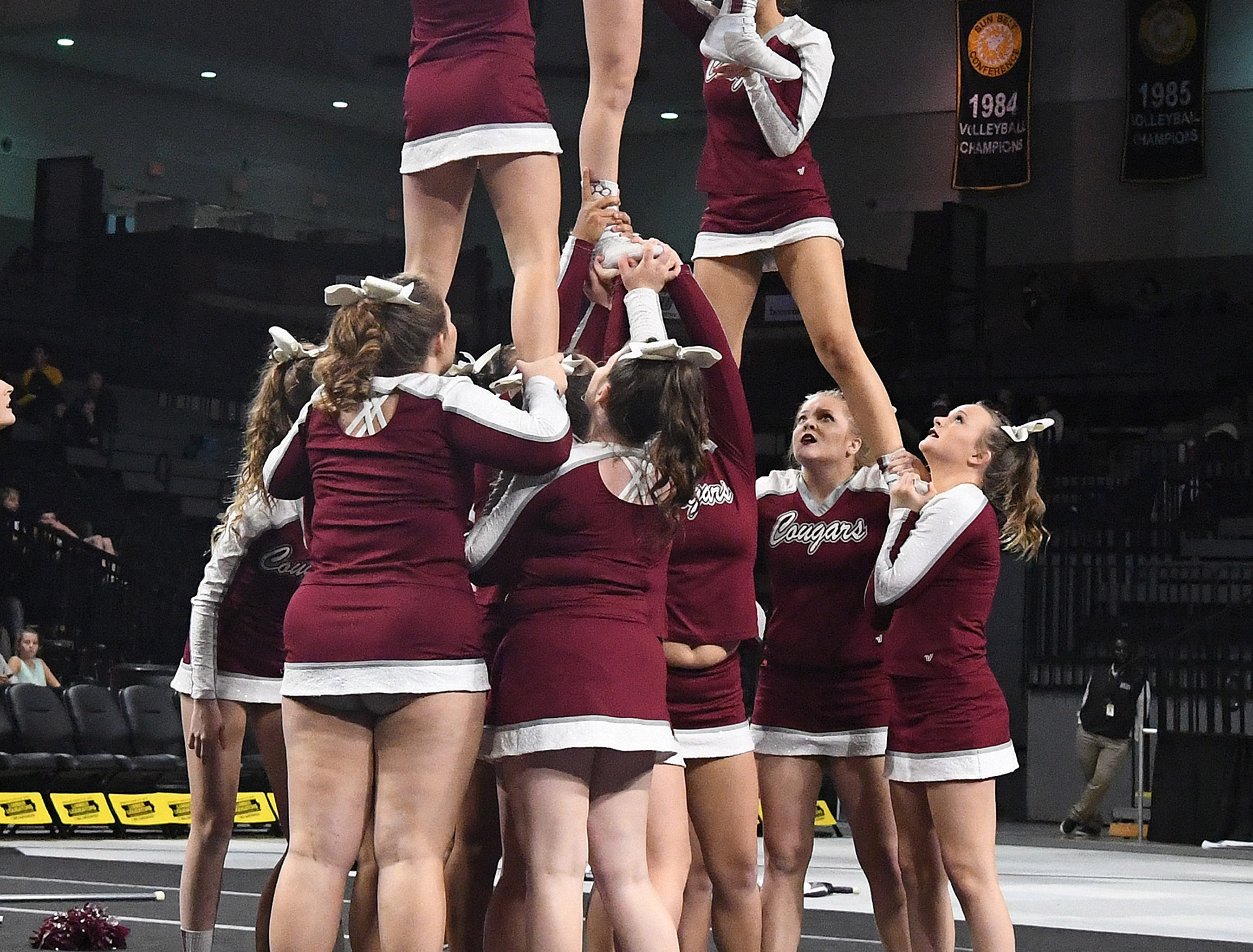 Stuarts Draft's competition cheer team competes in the event finals during the VHSL Competition Cheer Championships in Richmond on Saturday, Nov. 3, 2018.