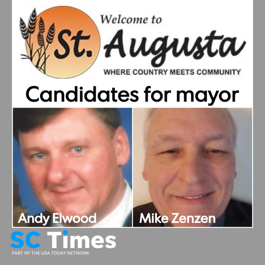 Andy Elwood and Mike Zenzen are running for the mayor's seat in St. Augusta. Current Mayor Bob Kroll is not running for re-election.