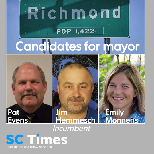 Former mayor Pat Evens, current mayor Jim Hemmesch and Emily Monnens are running for mayor. Council member Mike Mathiasen is running for re-election unopposed. Two other council seats will go to write-in candidates.