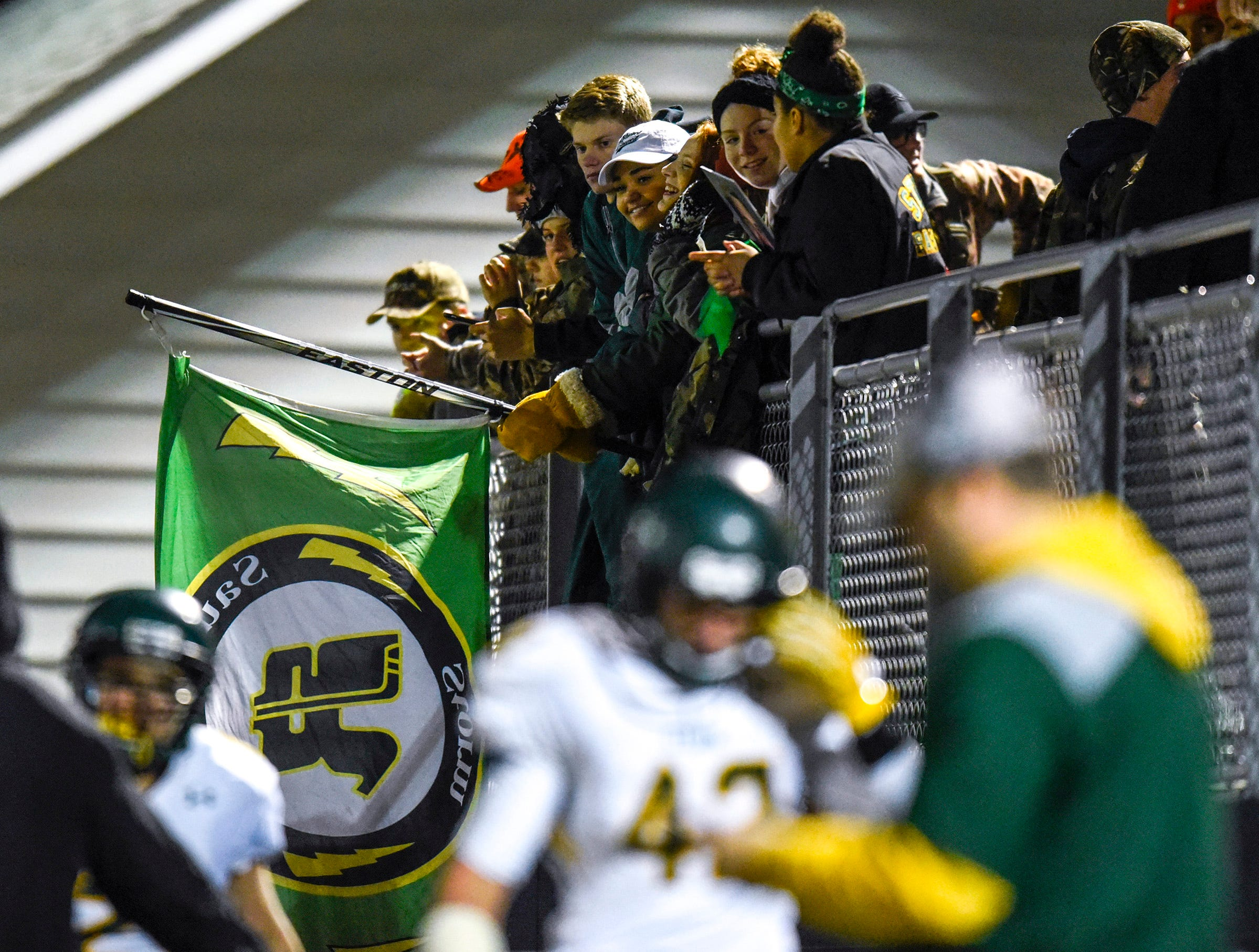 Sauk Rapids fans watch from the stands Friday, Nov. 2, in the Section 6-5A championship at Buffalo High School.
