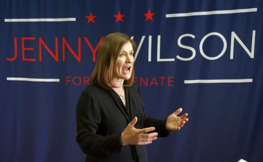 Democratic Senate candidate Jenny Wilson speaks during an interview June 27, 2018, in Salt Lake City. Wilson is working the phones and canvassing for her party's slate as Election Day nears.