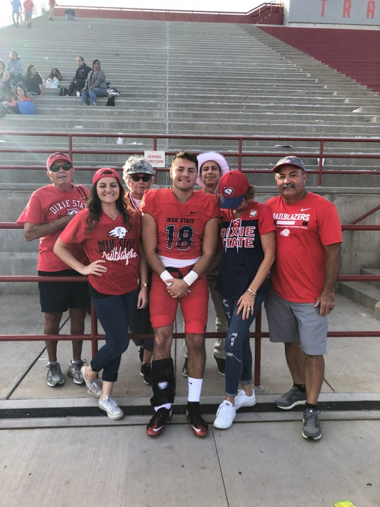 Dixie State WR Brad Duran with family after a 52-45 win over Colorado School of Mines in his final game on Nov. 3, 2018
