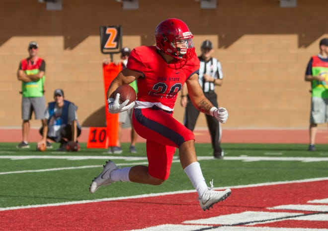 Lawrence Starks runs into the end zone during Dixie State's homecoming game against Colorado School of Mines on Nov. 3, 2018.