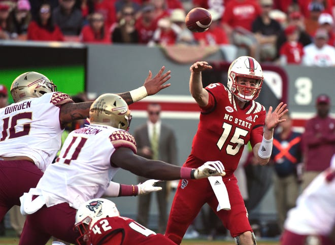 N.C. State quarterback Ryan Finley threw for three touchdowns in the Wolfpack's win over FSU Saturday.