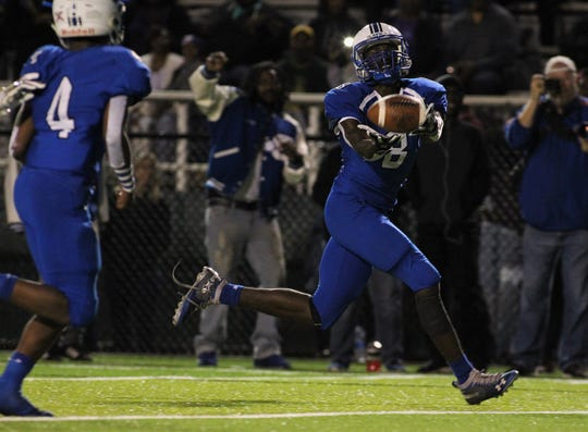Godby receiver Avery Boyd hauls in a touchdown catch as Godby defeated Lincoln 34-24 at Gene Cox Stadium on Friday, Nov. 2, 2018.