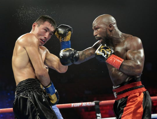 Janibek Alimkhanuly won a split decision over Alexander Vaughn Saturday night during Top Rank Boxing at the Don Haskins Center.