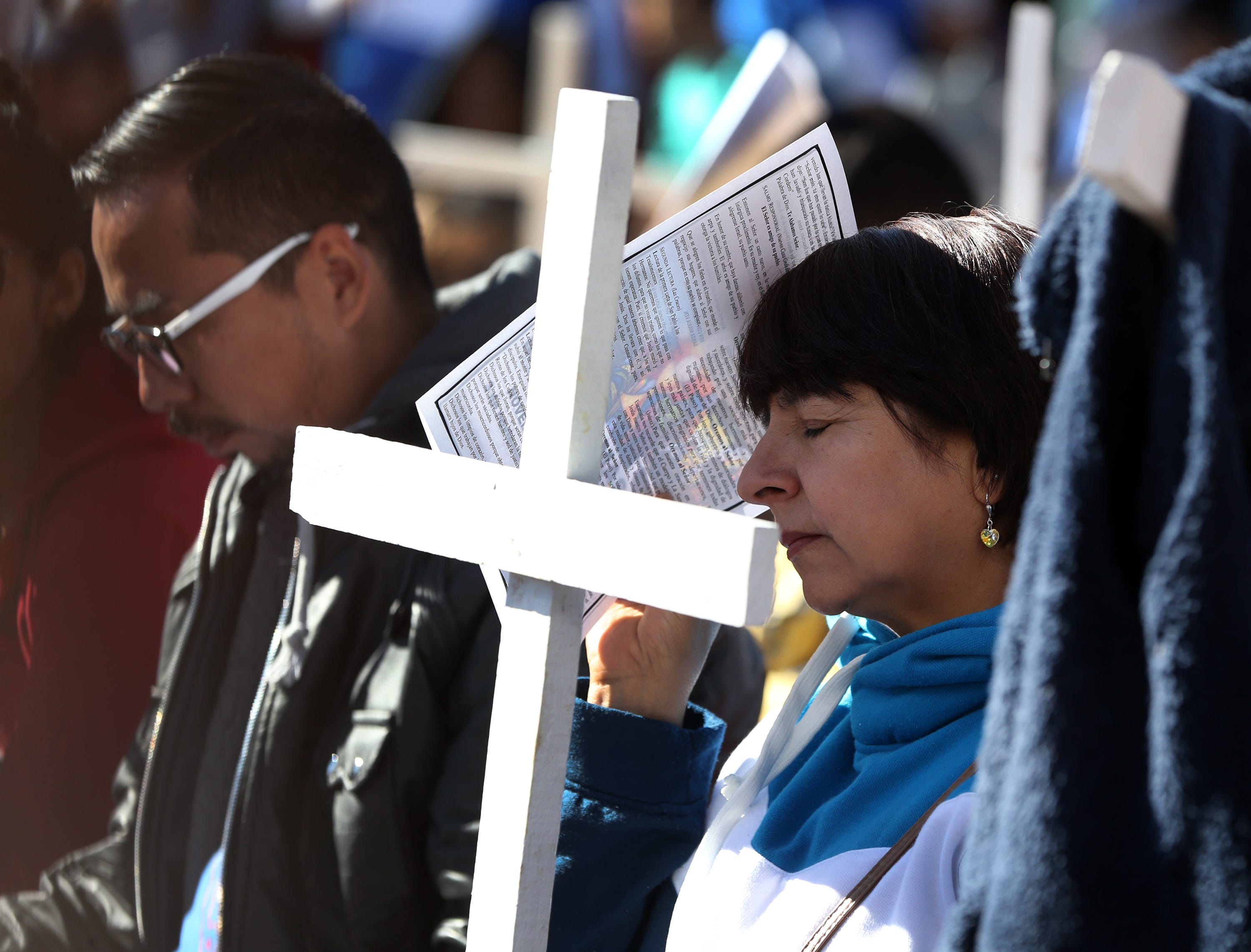 Faithful take part in the annual Border Mass in the Anapra area of Juarez Saturday.