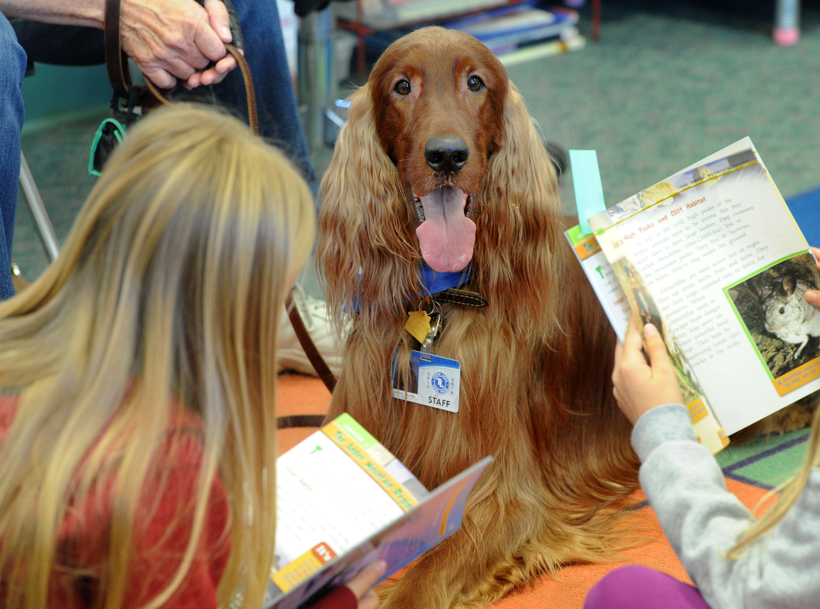 Quinn and his handler, Bobbe Jacobs, sit down with third-graders Anna Stoica, right, and Megan Kirby at Tierra Linda School in Camarillo for reading time.