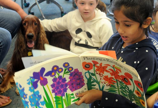 Sanvi Poddar, a third-grader, reads to Quinn and her friend Savannah McCann at Tierra Linda School in Camarillo. The therapy dog has been coming to the school for the past four years to help students improve their reading skills.