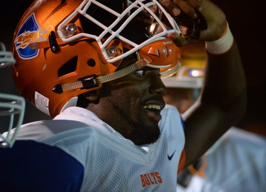 Millville's Kyle Yancey, reacts on the sideline after returning a Winslow kick for a touchdown during Friday night's South Jersey Group 4 first round football game at Millville Memorial High School, Nov. 2, 2018.