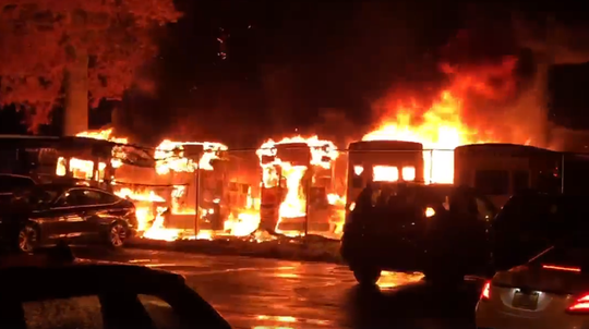Several buses caught fire in an Armonk bus fire Friday night.