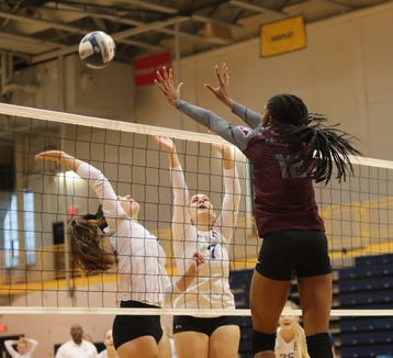 Valhalla's Jasmine Grant (12) puts up a block during their 3-1 win over Haldane in the girls class C volleyball section finals at Pace University in Pleasantville on Saturday, November 3, 2018.